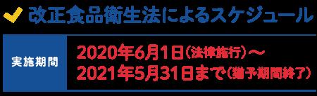 改正食品衛生法によるスケジュール 2020年6月1日(法律施行)~2021年5月31日まで(猶予期間終了)